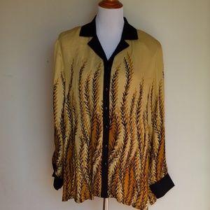 Bob Mackie Wearable art Large Silk Blouse